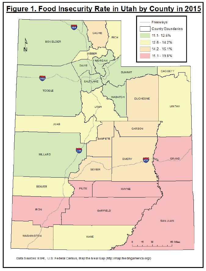 Figure 1. Food Insecurity Rate in Utah by County in 2015