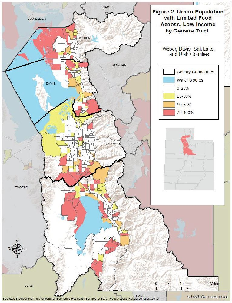 Figure 2. Urban Population with Limited Food Access, Low Income by Census Tract